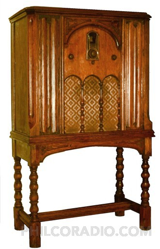 Tudor Highboy (Models 65 & 87) - Model 87 Tudor Highboy shown; Model 65 Tudor Highboy cabinet is identical in appearance.