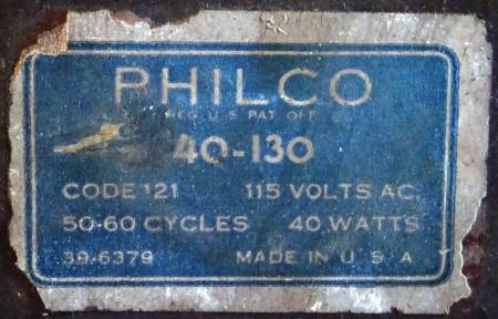 Model number label for Philco 40-130