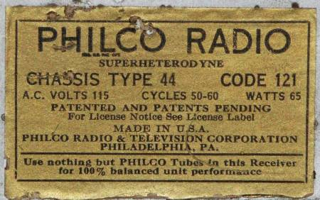 Model number label for Philco 44
