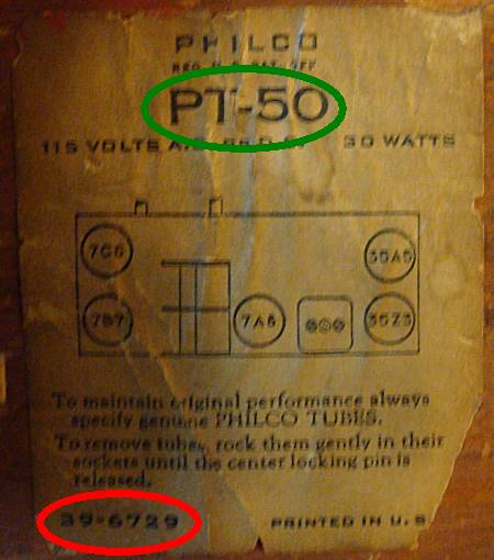 Philco PT-50 Label